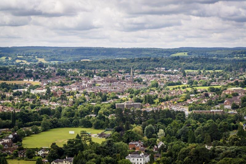 Sikt av Dorking, England, UK royaltyfri foto