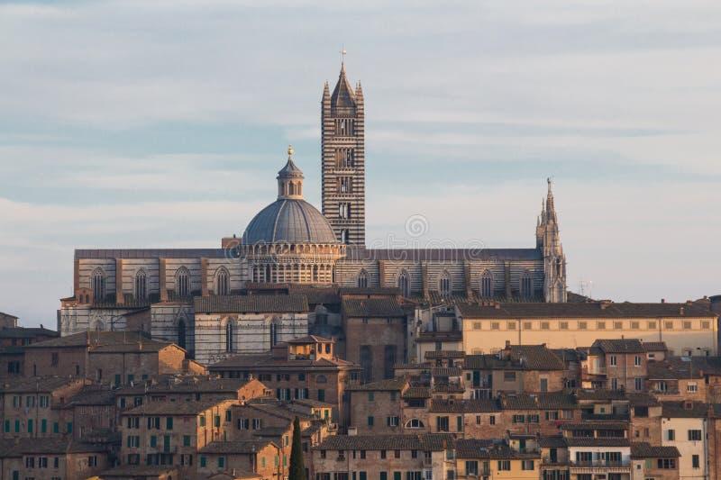 Sikt av Duomodi Siena eller den storstads- domkyrkan av Santa Maria Assunta från nord tuscany italy royaltyfri fotografi