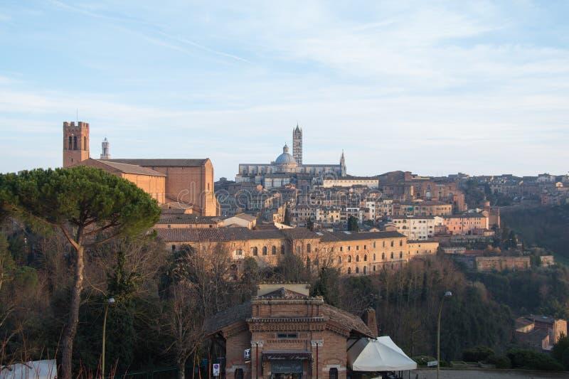 Sikt av Duomodi Siena från den Medici fästningen tuscany italy royaltyfria bilder