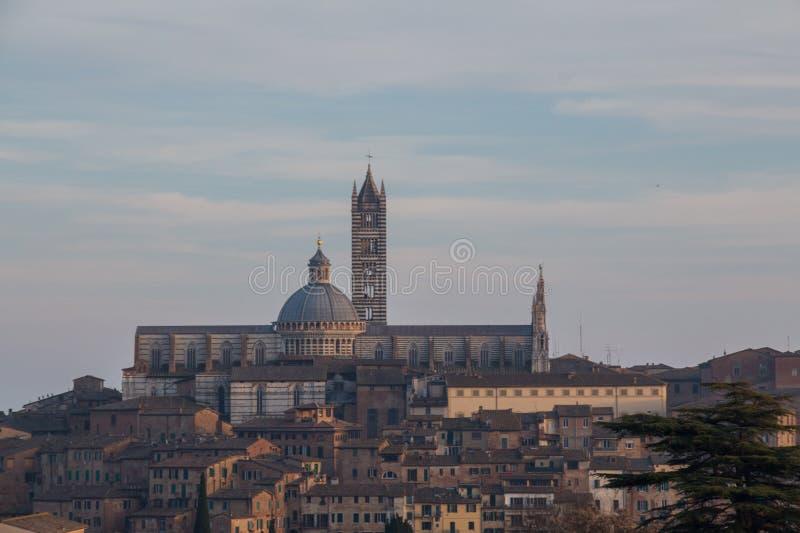 Sikt av Duomodi Siena med den gamla staden från nord tuscany italy arkivfoton