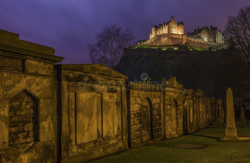 Sikt av Edinburgslotten i Skottland arkivfoto