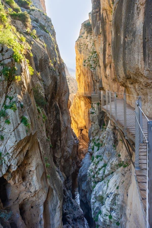 Sikt av El Caminito del Rey den turist- dragningen Malaga, Spanien royaltyfria bilder