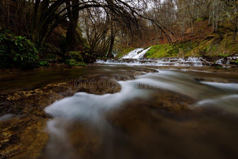 Sikt av en flod med en vattenfall i skogen, Strandzha mounta royaltyfri bild