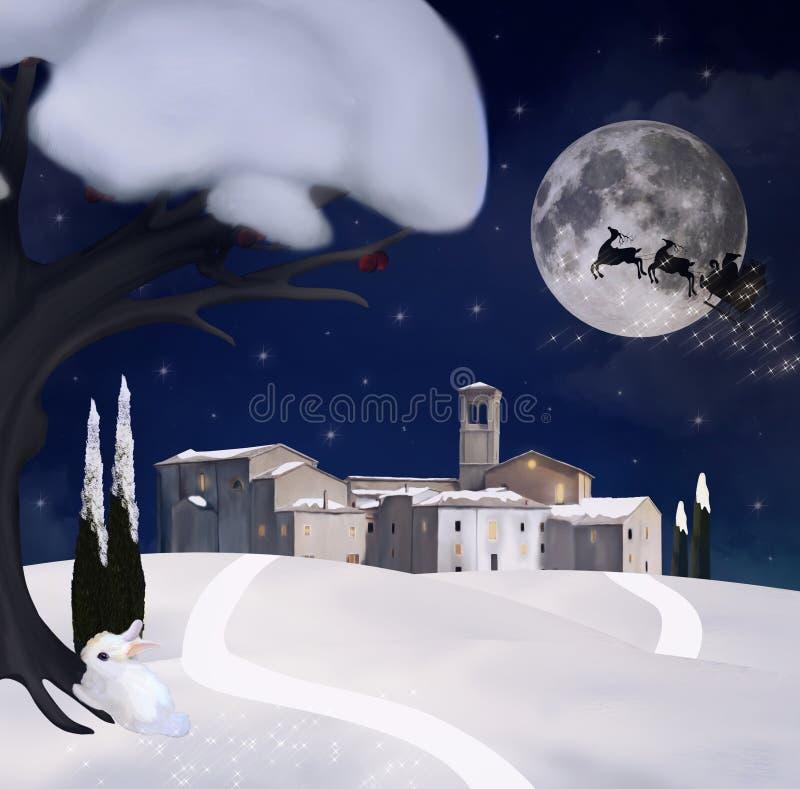 Sikt av en gammal stad på julaftonen royaltyfri illustrationer