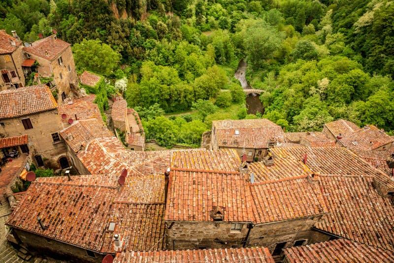 Sikt av en grön dal i Sorano över röda tak fotografering för bildbyråer