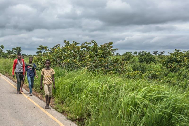 Sikt av en grupp på unga pojkar som promenerar vägrenen, tropiskt landskap som bakgrund arkivbilder