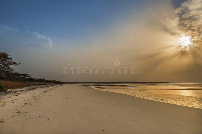 Sikt av en härlig öde strand i ön av Orango på solnedgången, i Guinea Bissau arkivbild