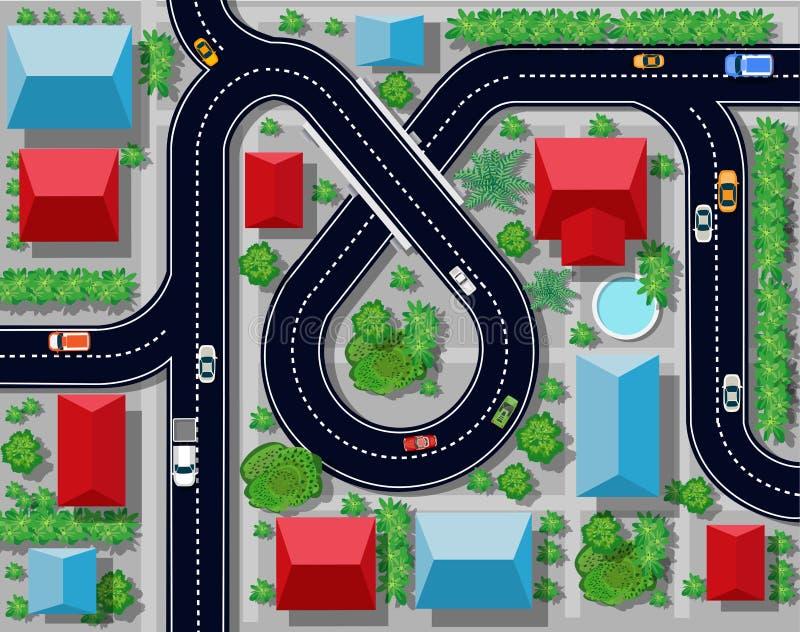 Sikt av en huvudvägföreningspunkt stock illustrationer