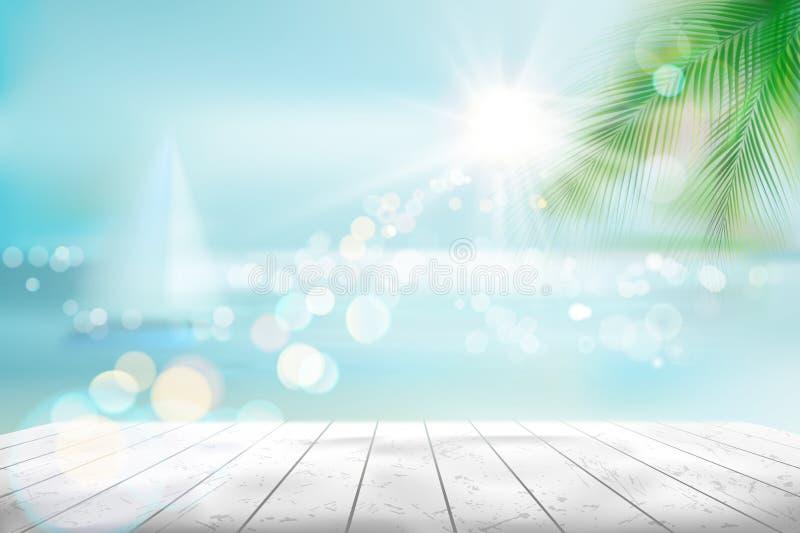 Sikt av en tropisk strand med en segelbåt också vektor för coreldrawillustration stock illustrationer
