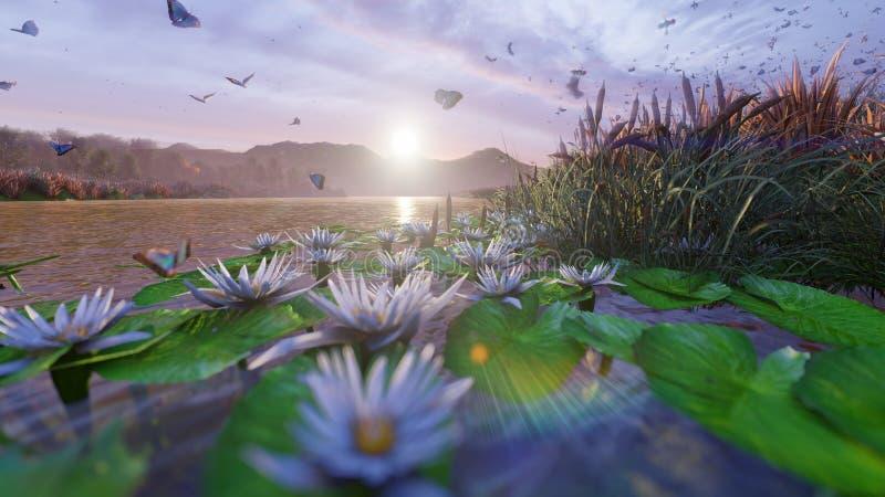 Sikt av ett h?rligt damm i bygden Härlig natur, ändlösa fält med kryp, fjärilar och fåglar 3d vektor illustrationer
