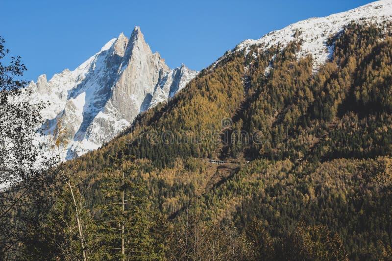 Sikt av ett snöig fjällängberg och den gröna kullen royaltyfri bild
