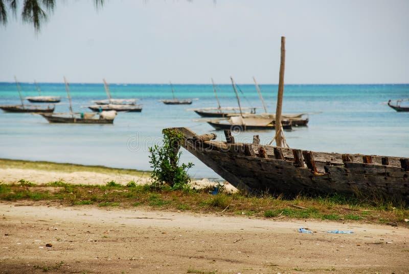 Sikt av fartyg, Zanzibar royaltyfri fotografi