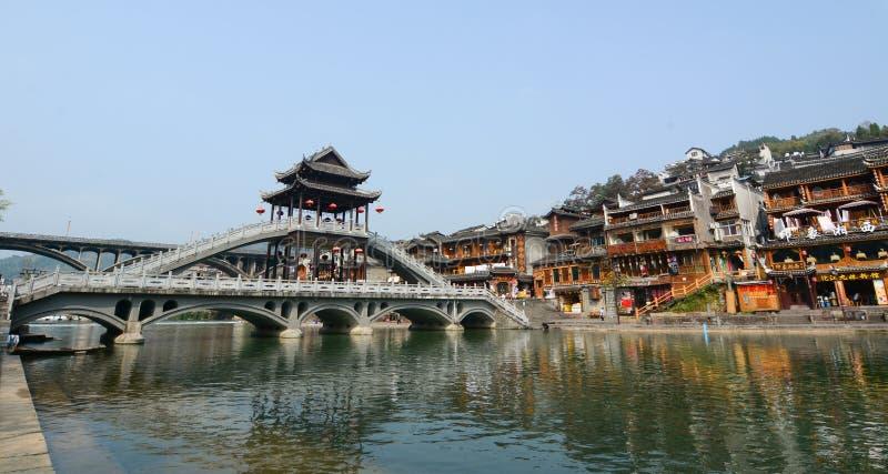 Sikt av Fenghuang den forntida staden, Kina royaltyfri bild