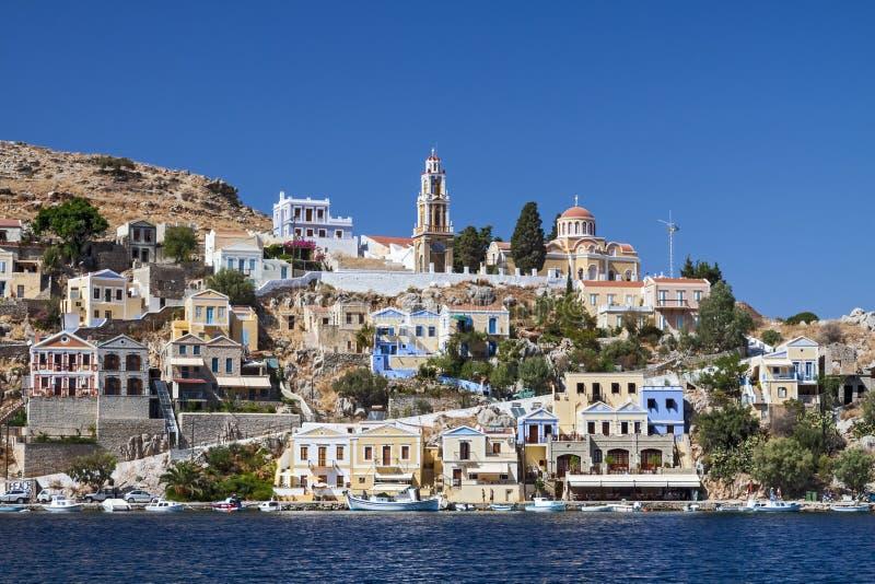 Sikt av fjärden av Rhodes Grekland royaltyfria bilder