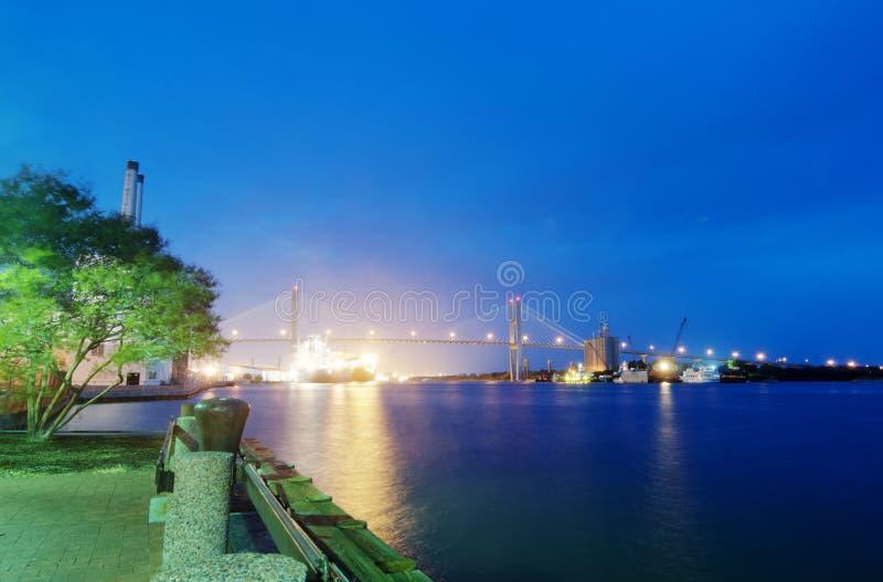 Sikt av floden i Savannah royaltyfri bild