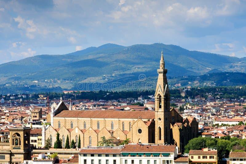 Sikt av Florence och det Pazzi kapellet, Italien arkivfoton