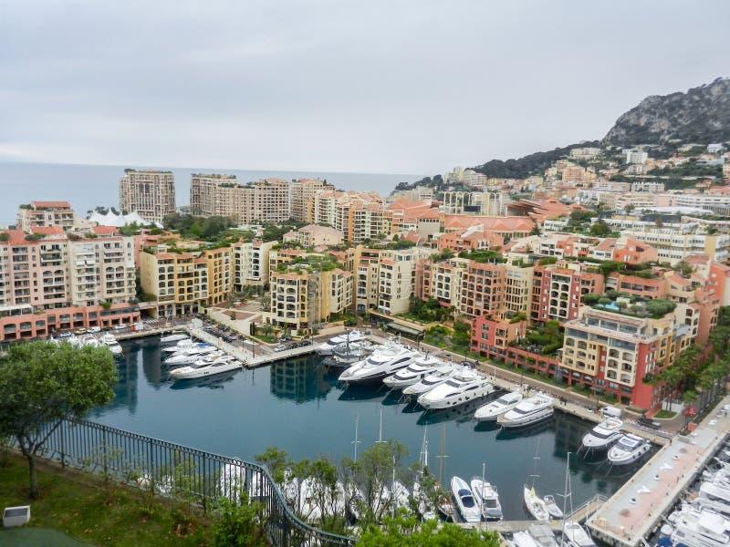 Sikt av Fontvieille från Monte - carlo royaltyfri foto