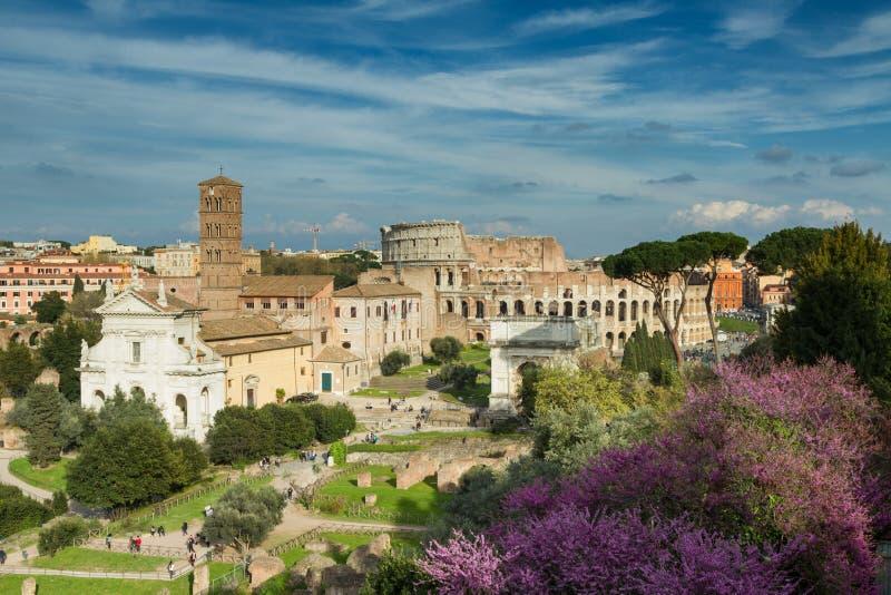 Sikt av forumet Romanum in mot coliseumen royaltyfri bild