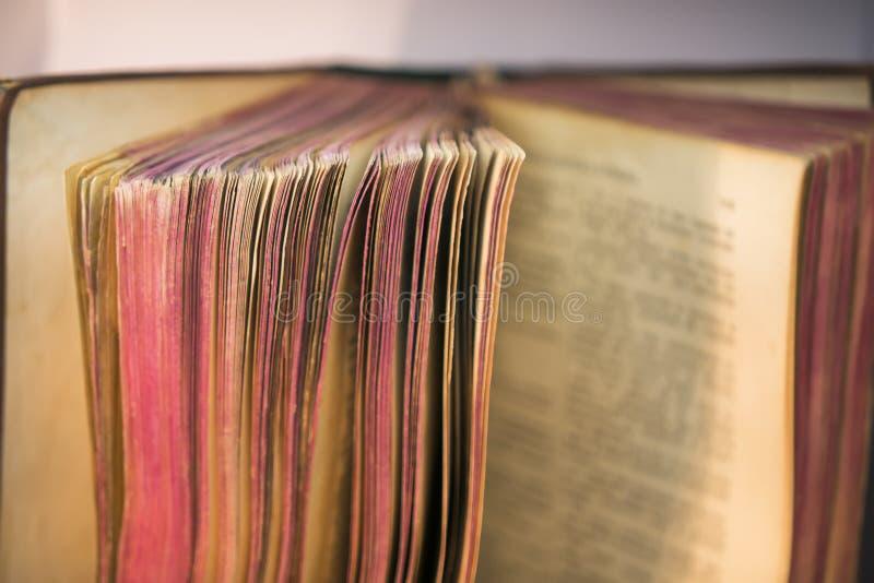 Sikt av gamla bibelboksidor royaltyfri foto