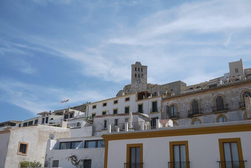 Sikt av gamla Eivissa arkivbild