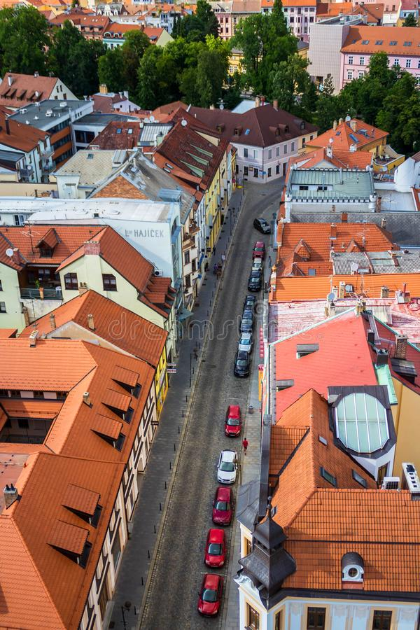 Sikt av gatan i Ceske Budejovice, Tjeckien arkivfoto