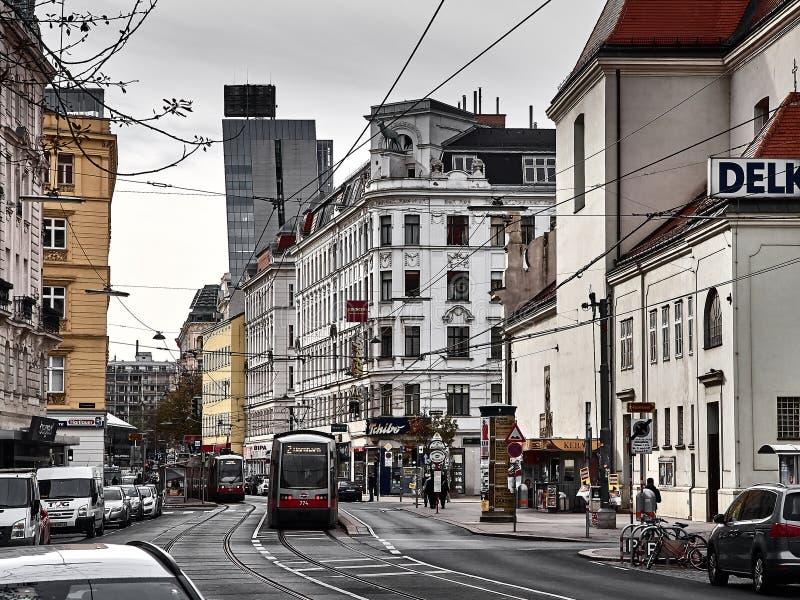 Sikt av gatorna av Wien royaltyfri foto