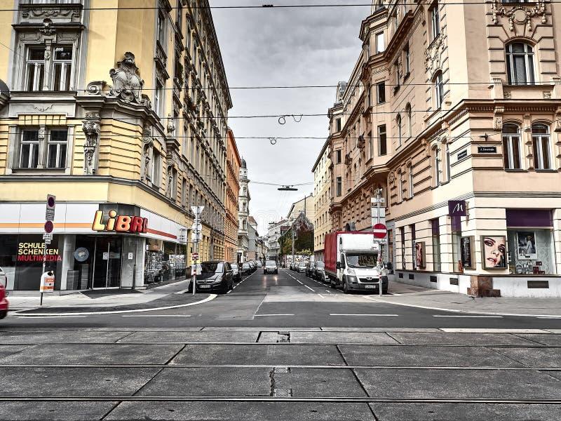 Sikt av gatorna av Wien royaltyfri fotografi
