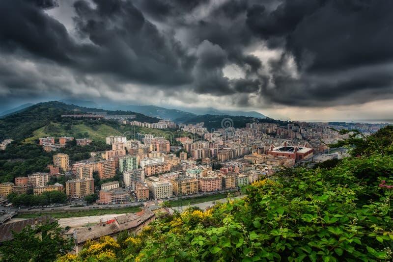 Sikt av Genoa Italy royaltyfria foton