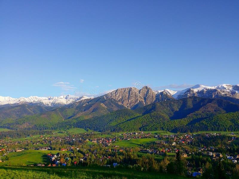 Sikt av Giewonten från berget Gubalowka Polen Zakopane fotografering för bildbyråer