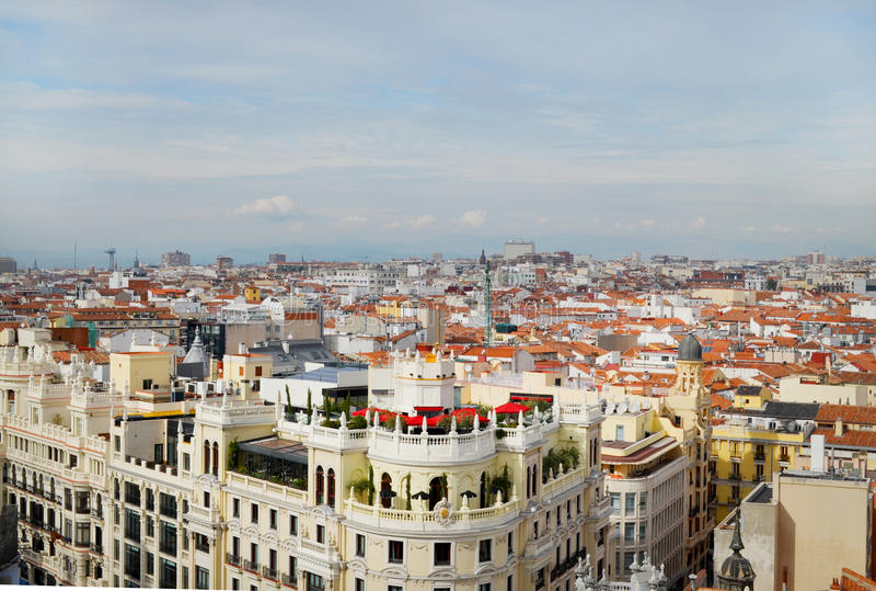 Sikt av Granen via, Madrid Spanien arkivbild