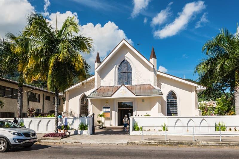 Sikt av helgonet Paul Cathedral i Victoria, Mahe ö, Seychelle royaltyfria bilder