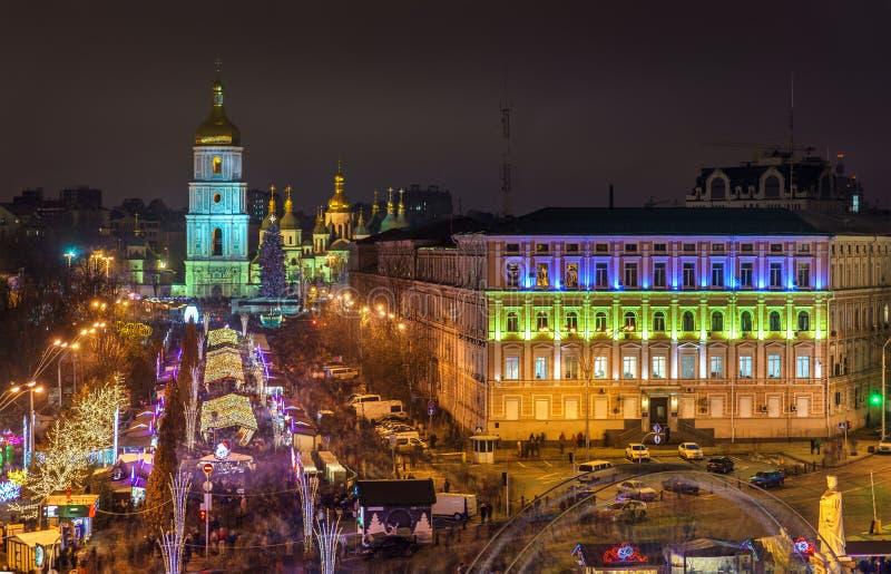Sikt av helgonet Sophia Cathedral, en UNESCOvärldsarv i Kiev, Ukraina arkivfoto