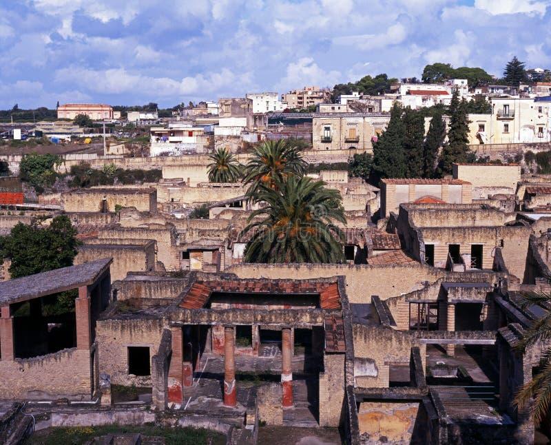Sikt av Herculaneum, Italien. royaltyfri foto