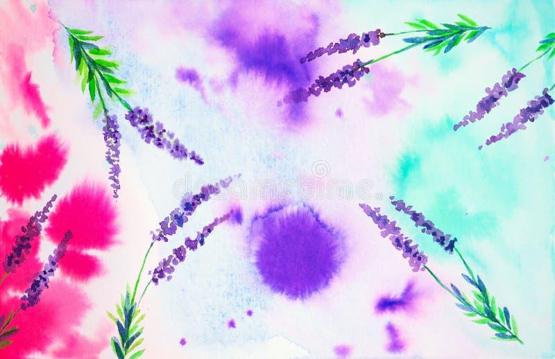 Sikt av himlen från botten upp till och med lavendelblommorna i fältet abstrakt illustrationvattenfärg royaltyfri illustrationer