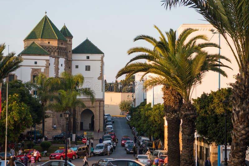 sikt av historiska byggnader i Habous royaltyfri fotografi