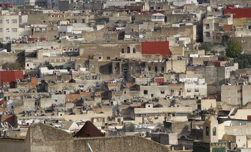 Sikt av hus av Medinaen av Fez i Marocko,