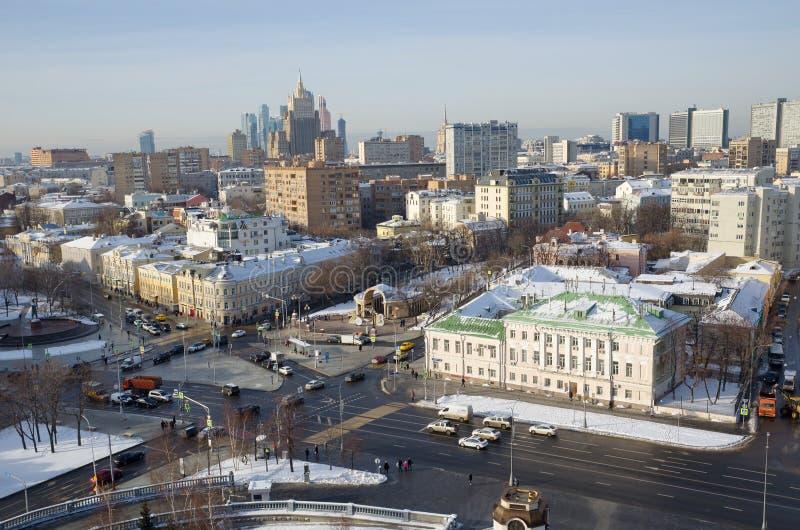 Sikt av huvudstaden från höjden, Moskva, Ryssland arkivbild