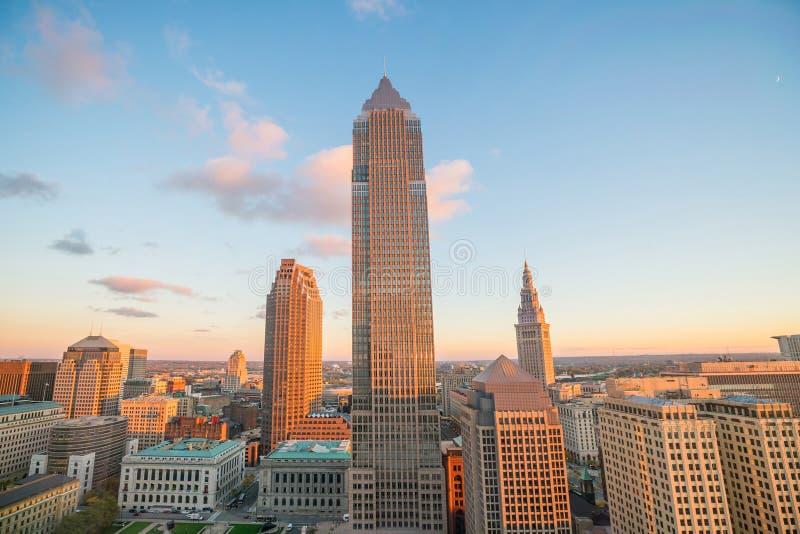 Sikt av i stadens centrum Cleveland arkivbild