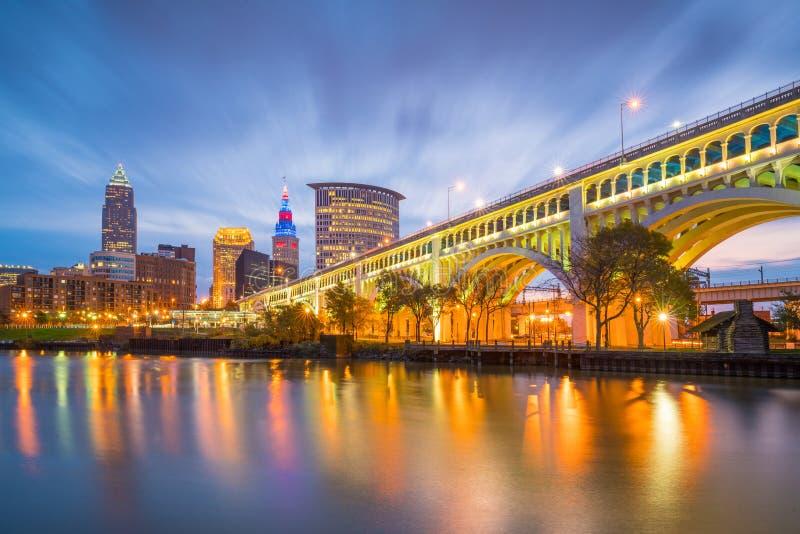 Sikt av i stadens centrum Cleveland royaltyfria foton