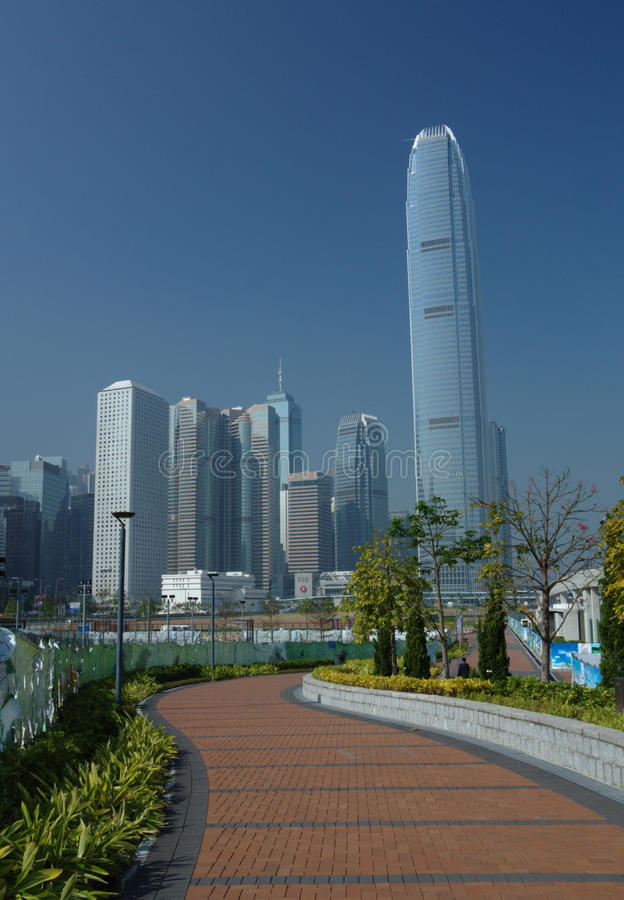 Sikt av i stadens centrum Hong Kong i dagsljus arkivbild