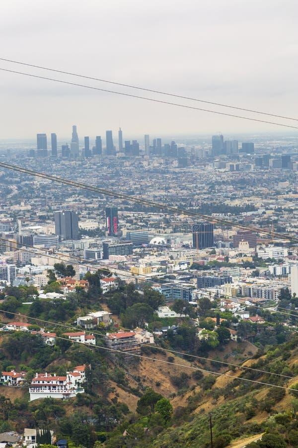 Sikt av i stadens centrum horisont från Griffith Park, Hollywood, Los Angeles, Kalifornien, Amerikas förenta stater, Nordamerika royaltyfria foton