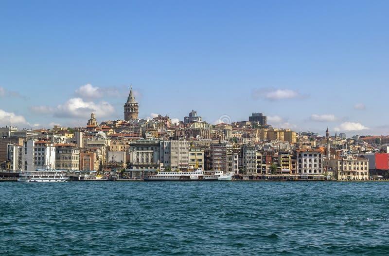 Sikt av Istanbul Beyoglu område arkivbild