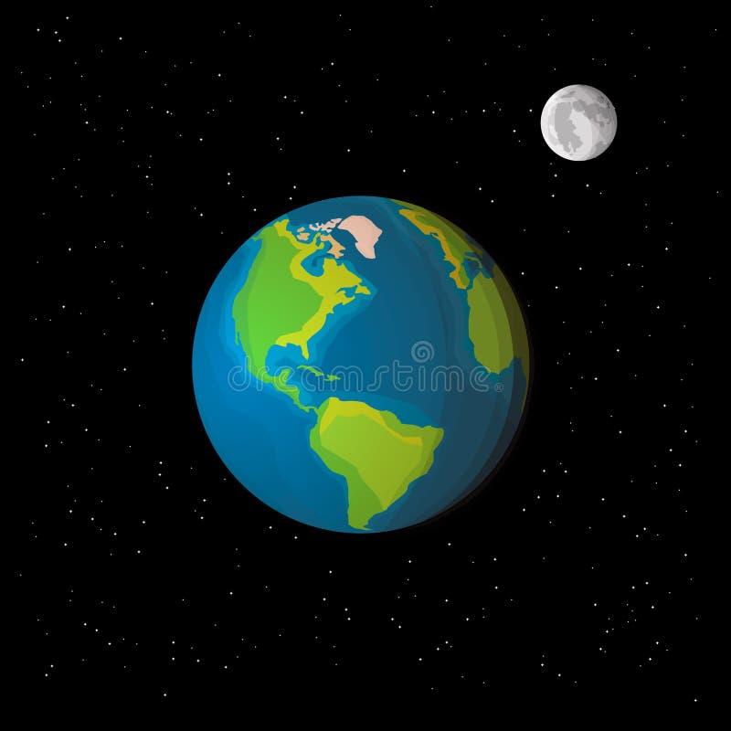 Sikt av jord och månen från utrymme med stjärnor stock illustrationer