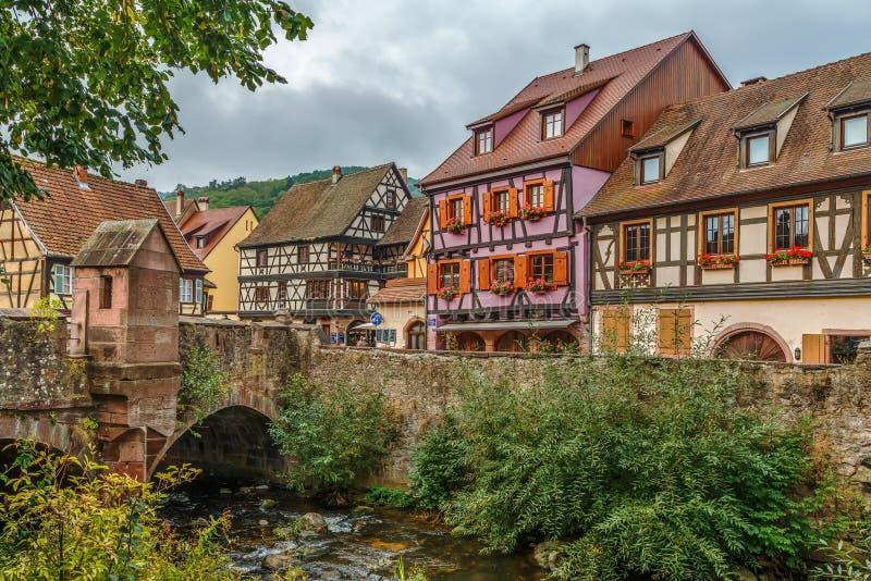 Sikt av Kaysersberg, Frankrike royaltyfri fotografi