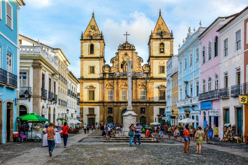 Sikt av kloster och kyrkan av São Francisco i det historiska området av Pelourinho Salvador bahia, brazil royaltyfria bilder