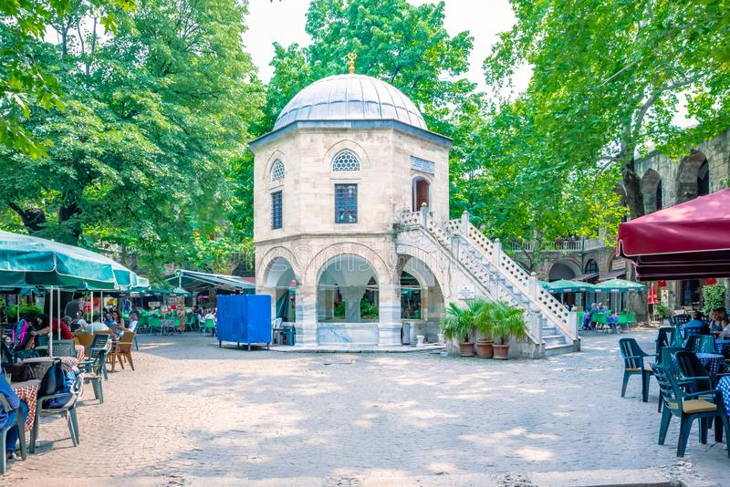 Sikt av Koza Han (siden- basar) i Bursa, Turkiet arkivbilder