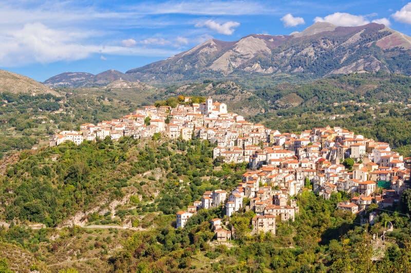 Sikt av kulle-staden - Rivello royaltyfri bild