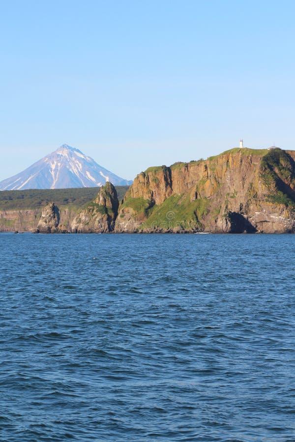 Sikt av kustlinjen av den Kamchatka halvön, Ryssland fotografering för bildbyråer