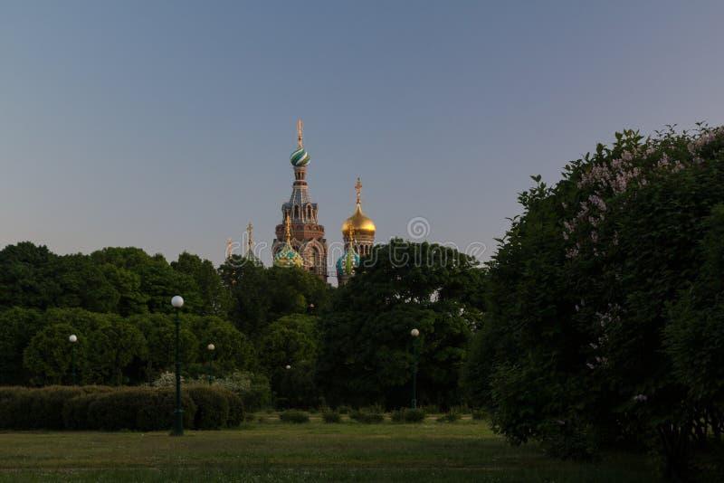 Sikt av kyrkan på den spillda blod och Griboyedov kanalen, St Petersburg, Ryssland royaltyfri fotografi