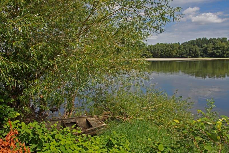 Sikt av Loiret River nära langeais, Frankrike royaltyfri foto